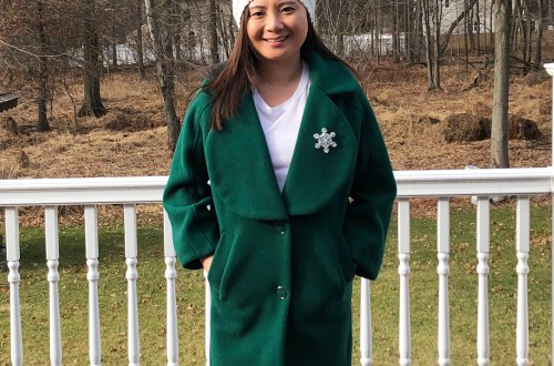 Green Lapel Coat + Snowflake Brooch