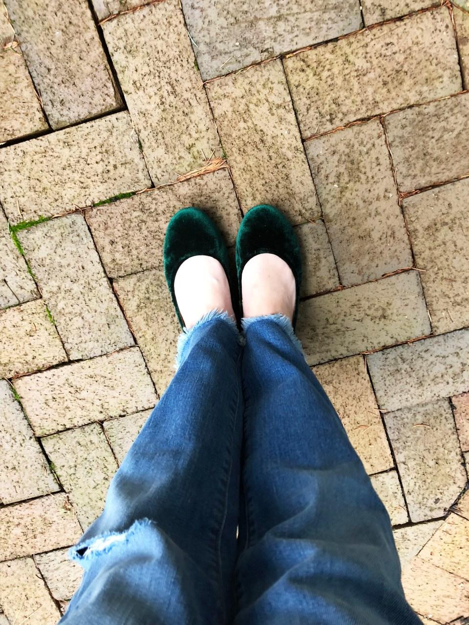 Green Velvet Flats 4