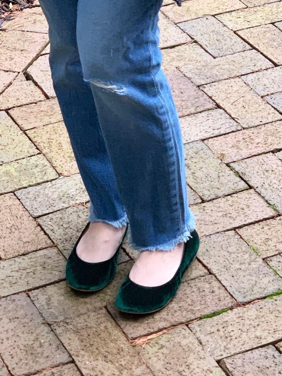 Green Velvet Flats