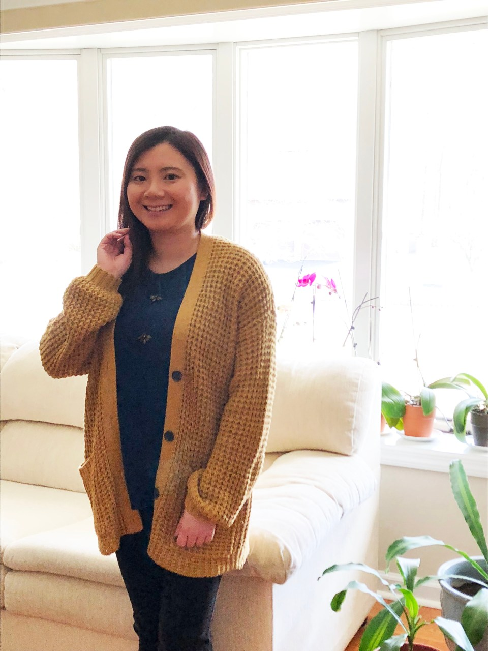 Mustard Waffle Knit + Bee Embellished Top 1