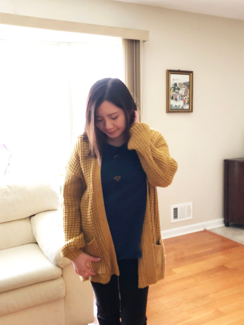 Mustard Waffle Knit + Bee Embellished Top 8
