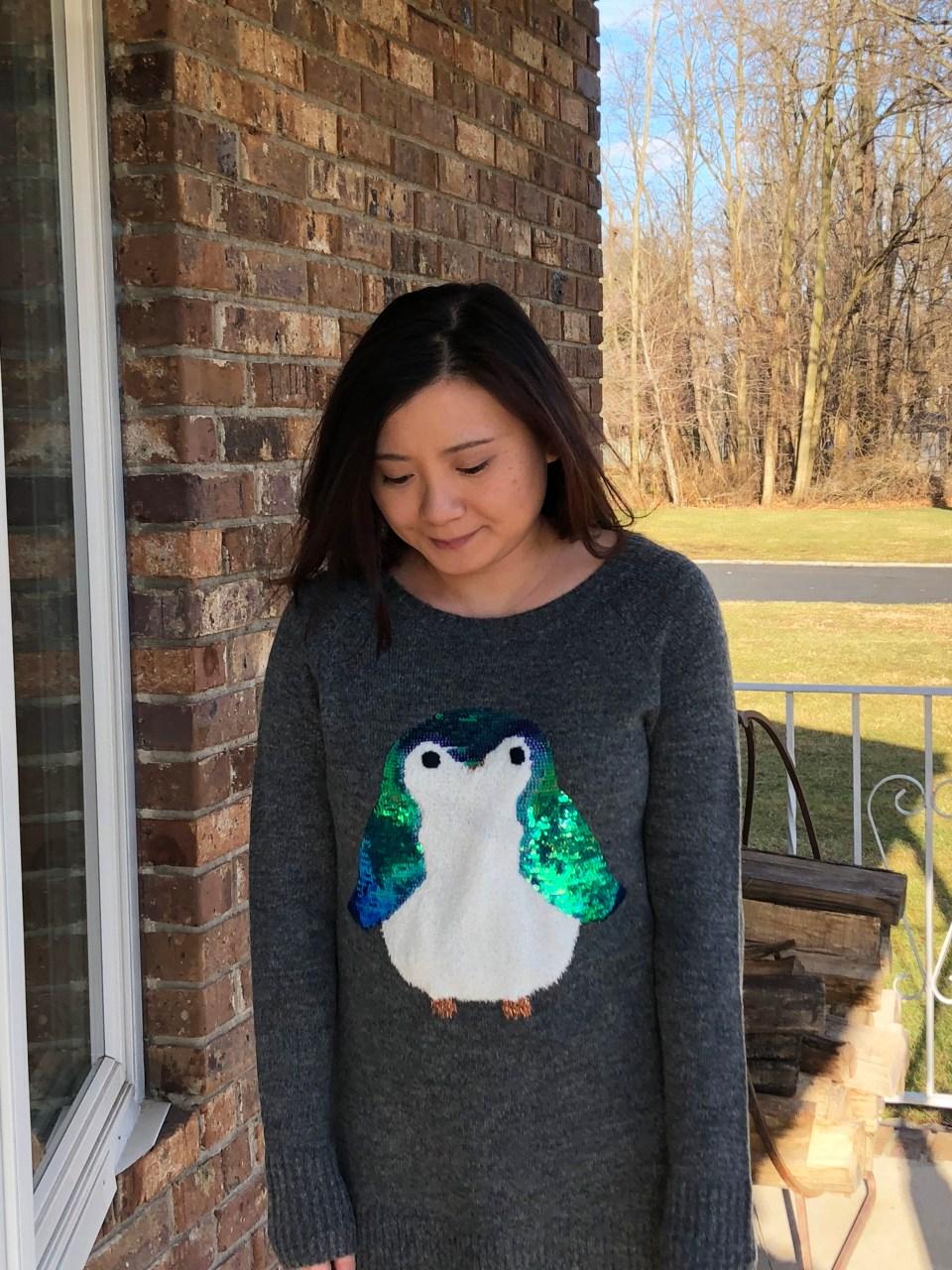Sequin Penguin Sweater 10