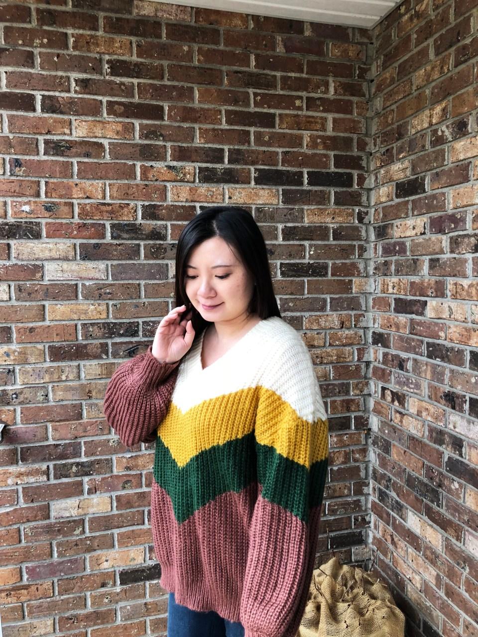Colorblock Chevron Sweater 1