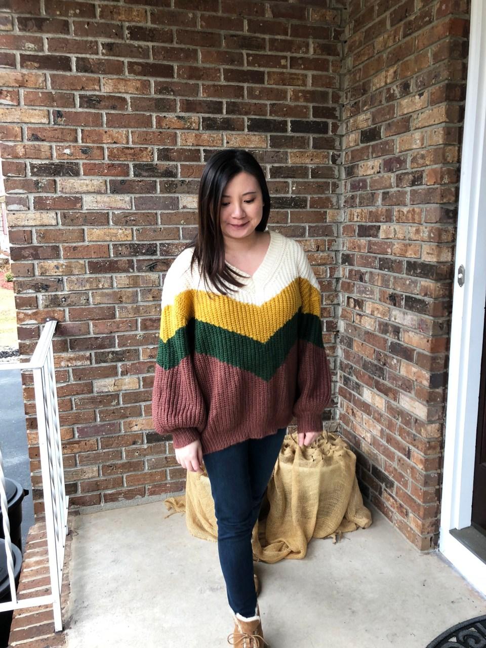 Colorblock Chevron Sweater 14