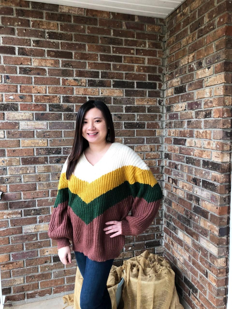 Colorblock Chevron Sweater 2