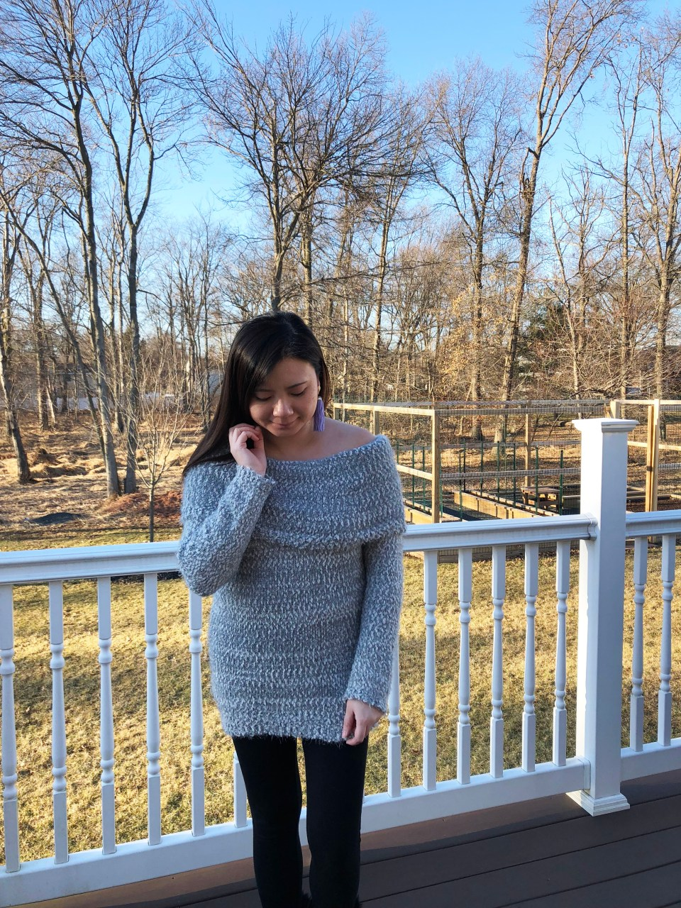 Grey Eyelash OTS Sweater 4