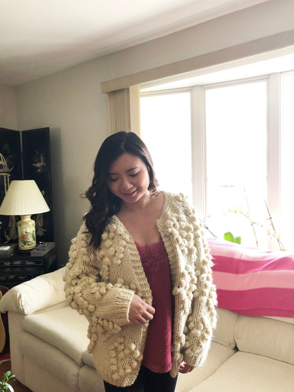 Lace Dot Cami + Heart Pompom Cardigan 3