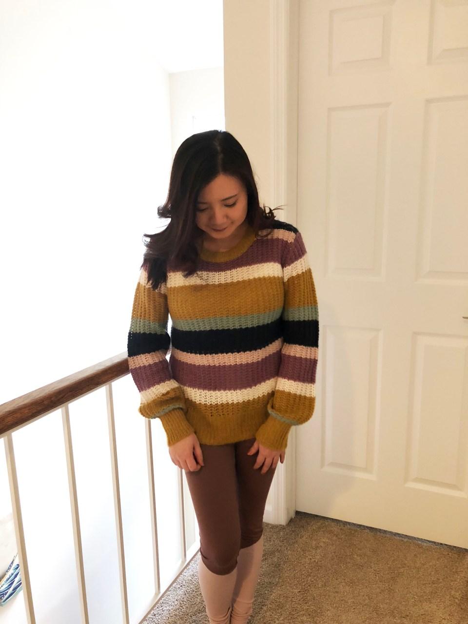 Lofty Puff Sleeve Striped Sweater 6