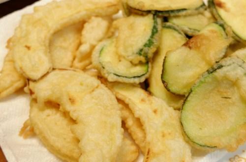 acorn squash + zucchini tempura