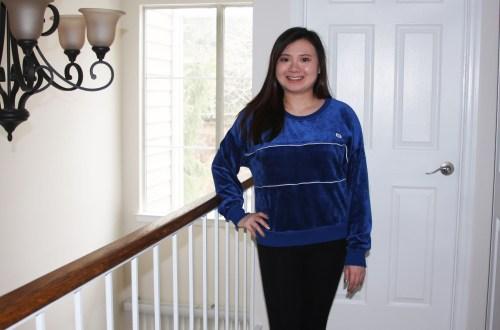 Blue Velour Sweatshirt