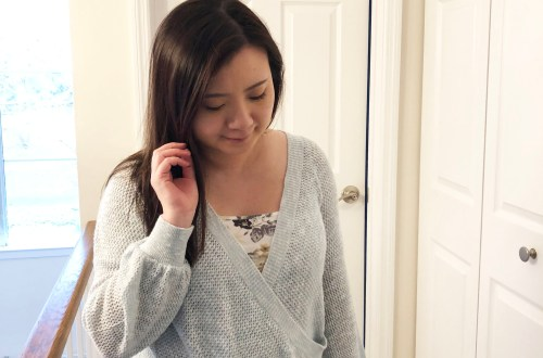 Light Blue Wrap Sweater