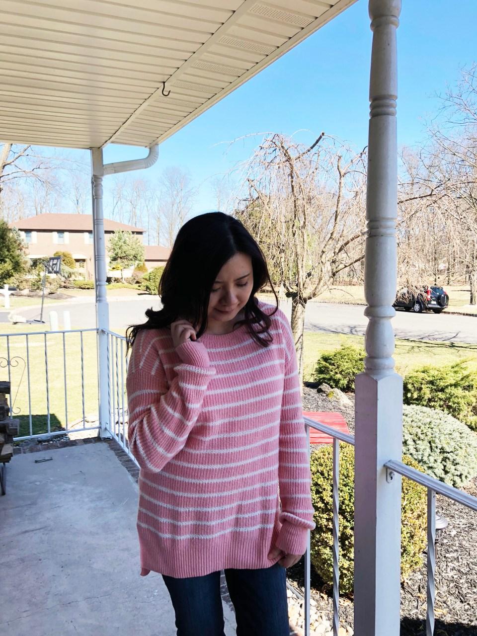 Pink & White Striped Sweater 10