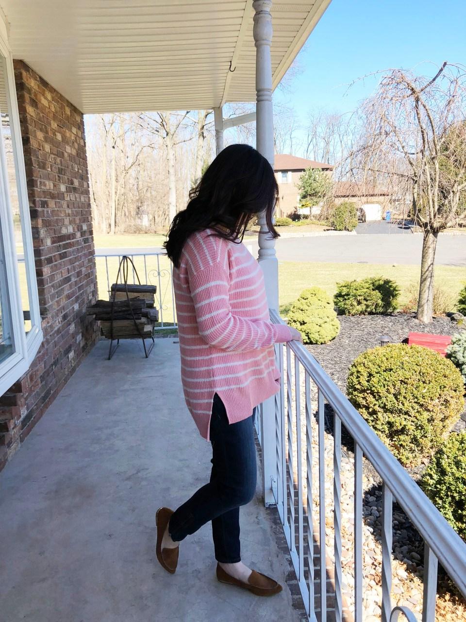 Pink & White Striped Sweater 3