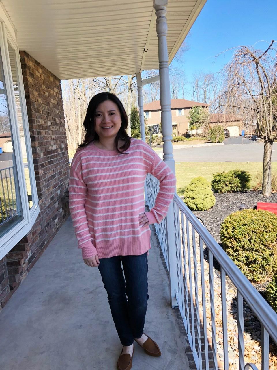 Pink & White Striped Sweater 5