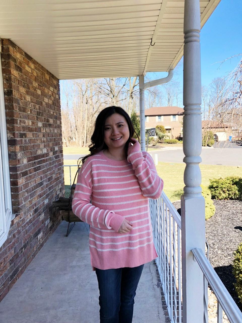 Pink & White Striped Sweater 8