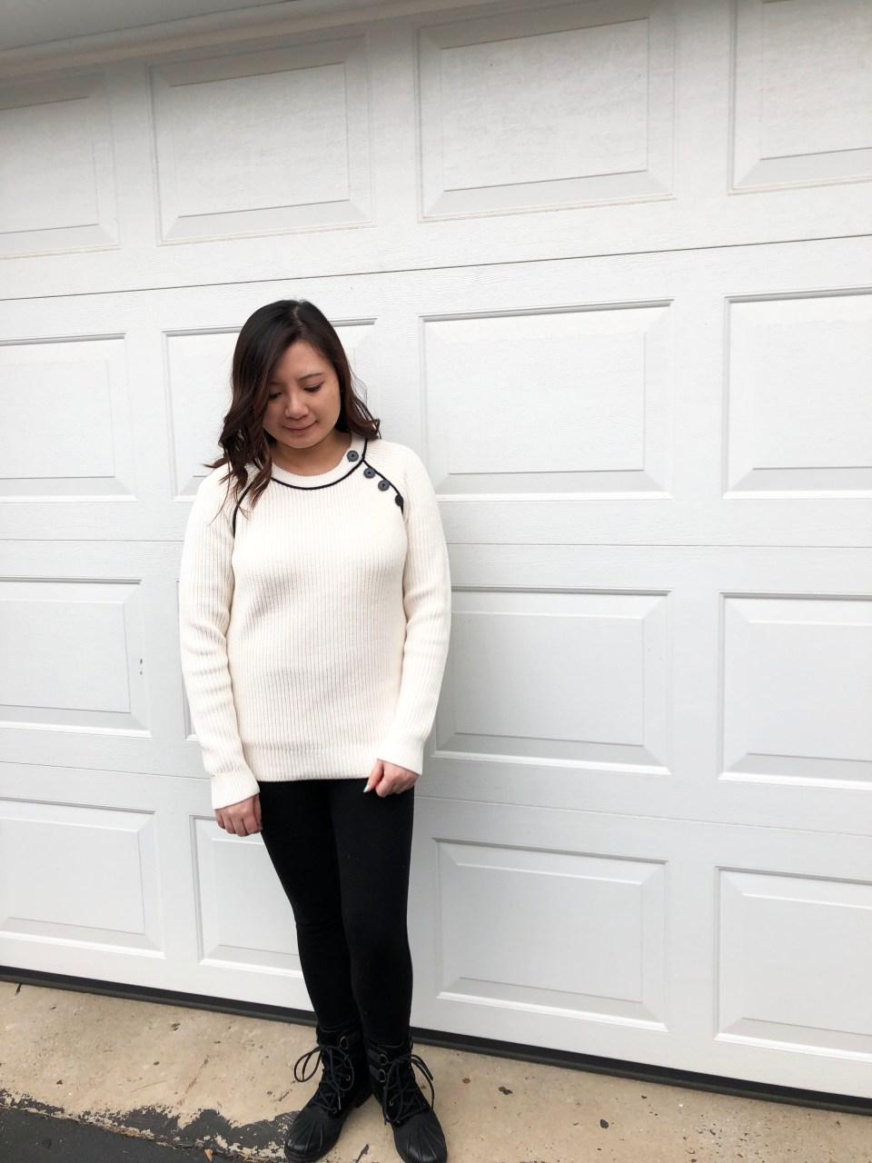 Piped Button Trim Sweater 1