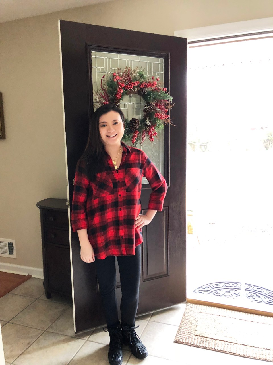 Red Plaid Flannel & Gold Layered Necklace 1