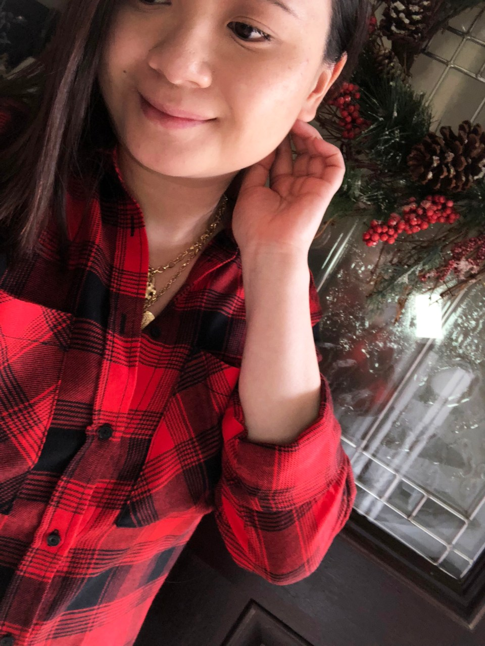 Red Plaid Flannel & Gold Layered Necklace 11