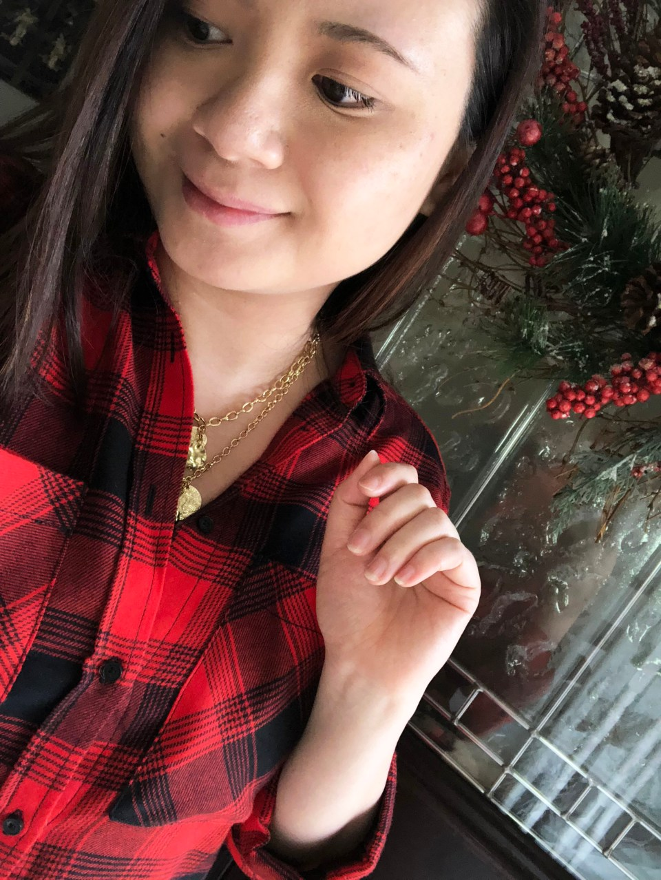 Red Plaid Flannel & Gold Layered Necklace 12