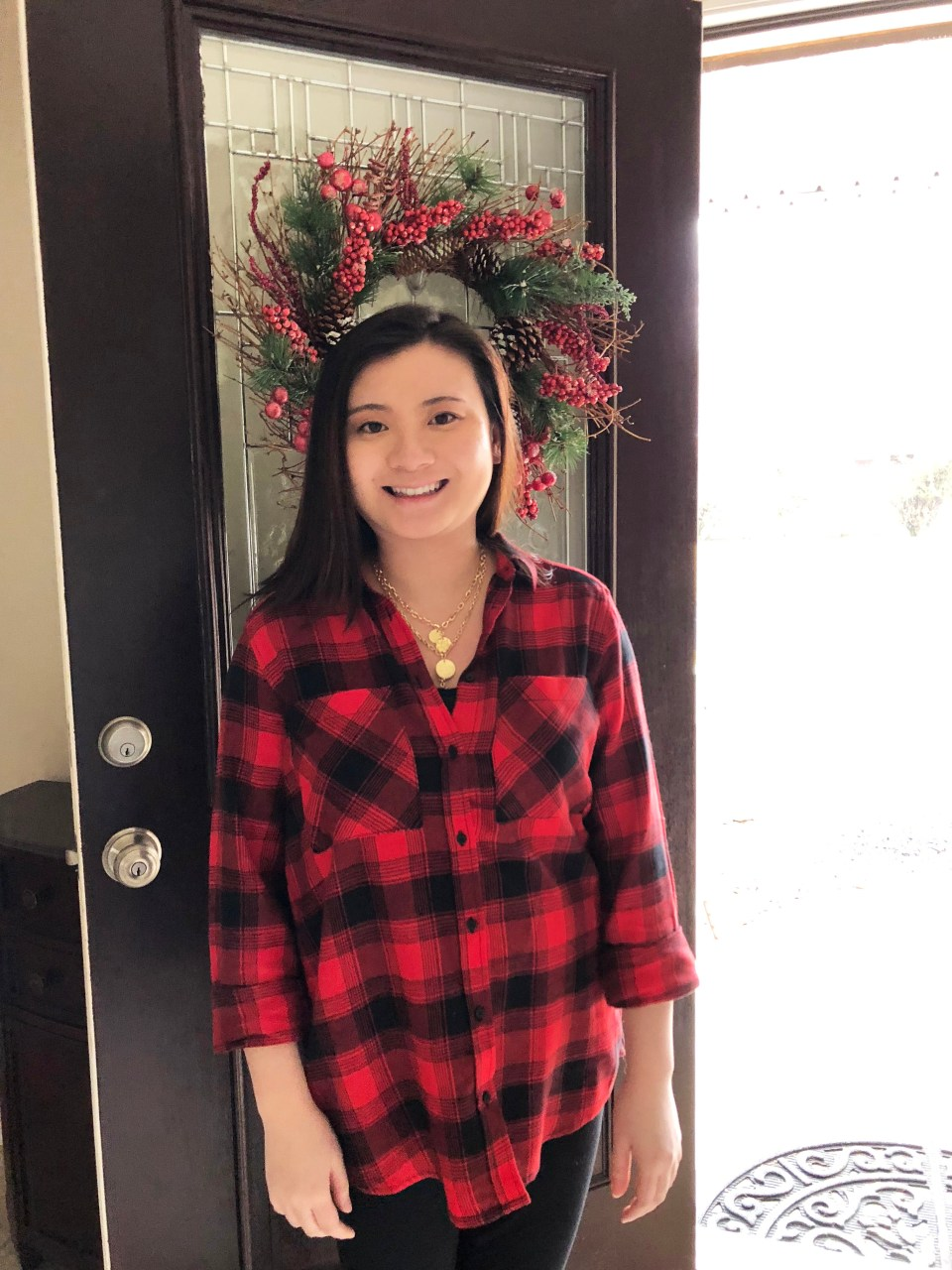 Red Plaid Flannel & Gold Layered Necklace 5