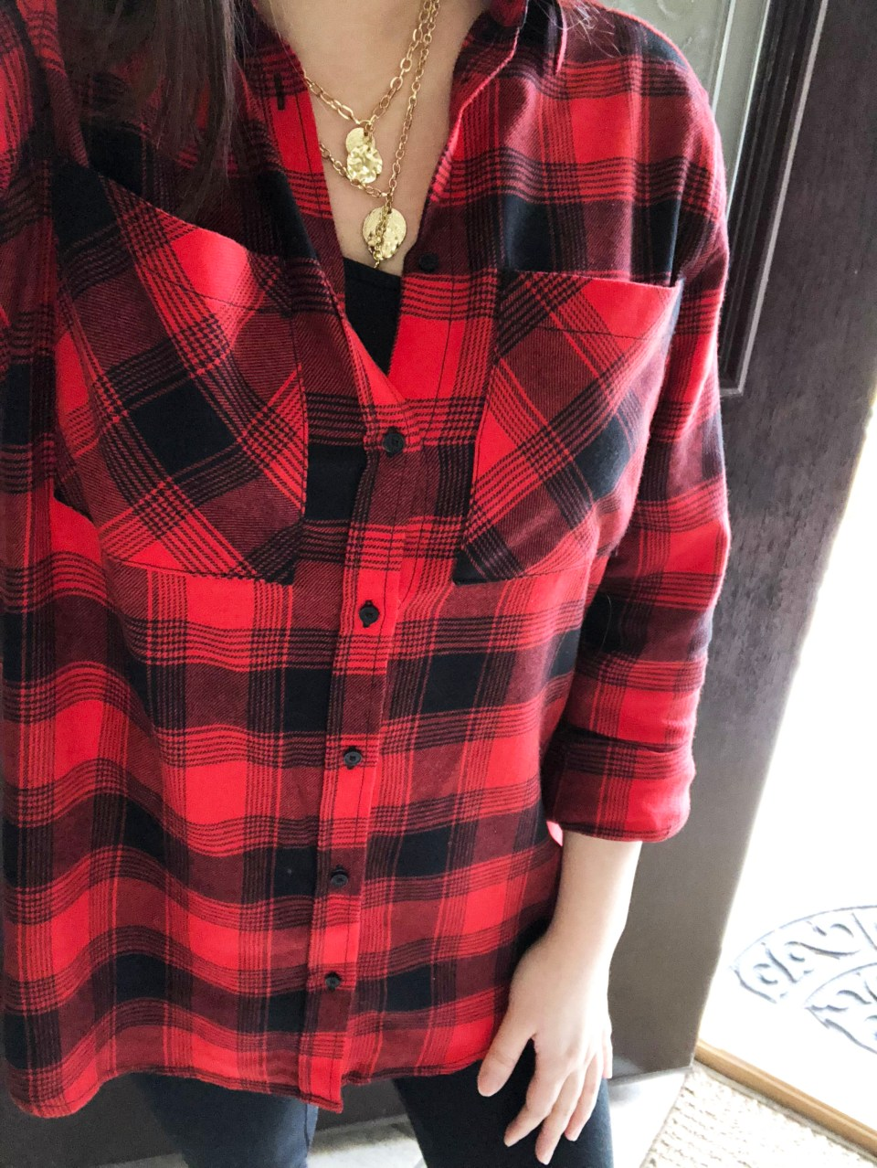 Red Plaid Flannel & Gold Layered Necklace 7