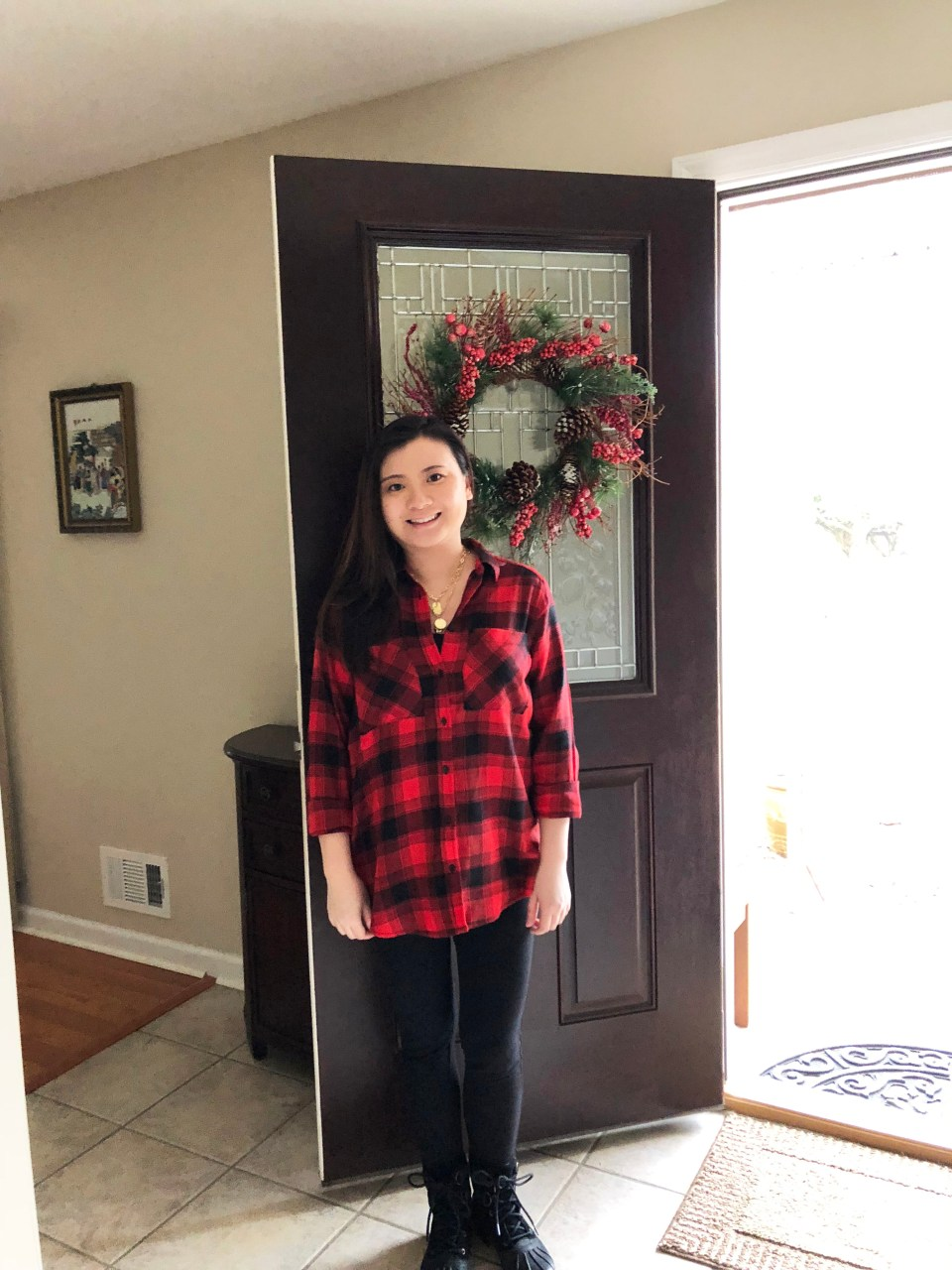 Red Plaid Flannel & Gold Layered Necklace