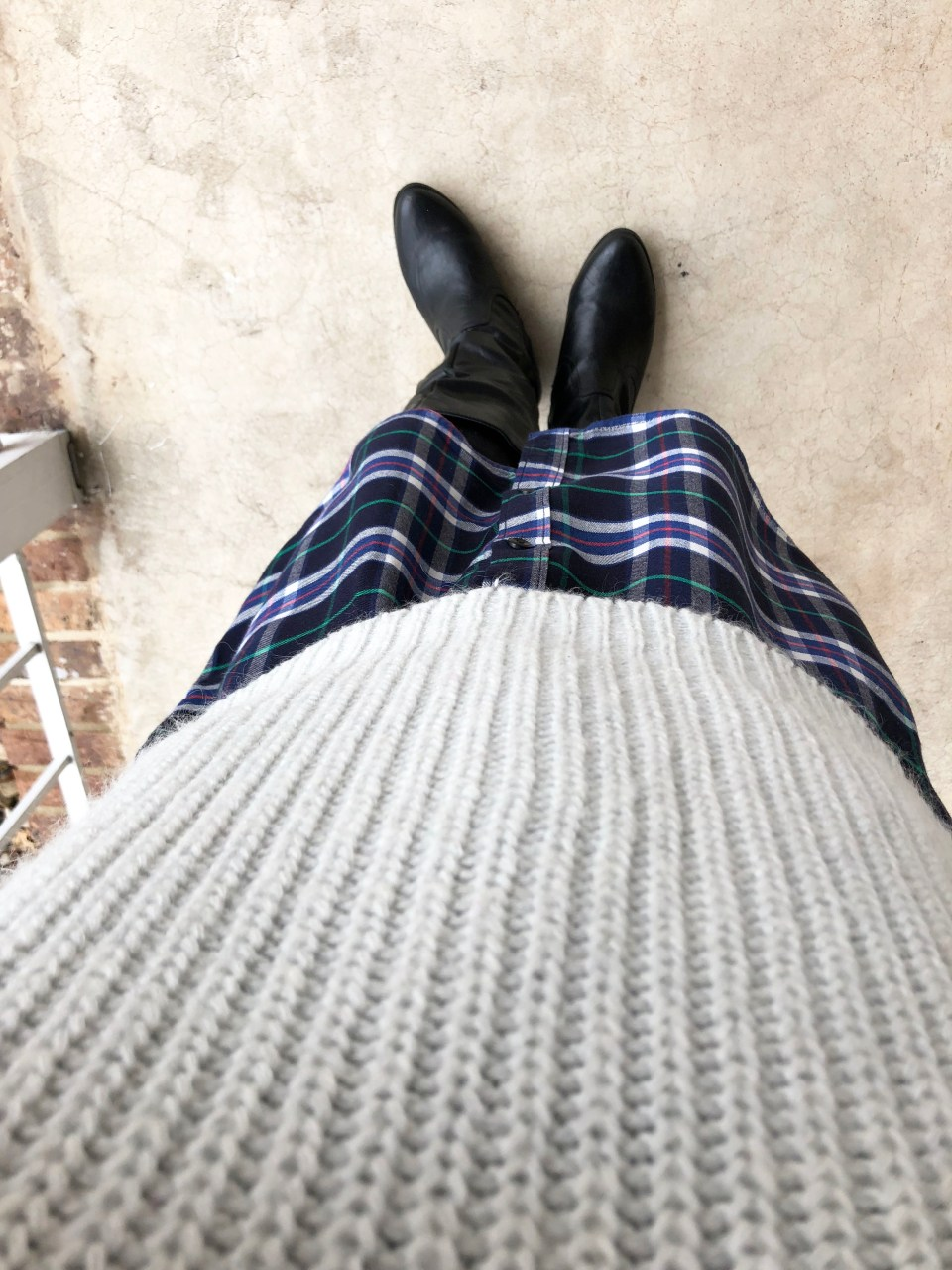 Shaker Knit Sweater + Plaid Shirt Dress 10