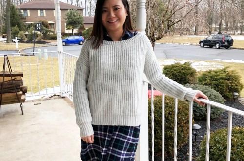 Shaker Knit Sweater + Plaid Shirt Dress
