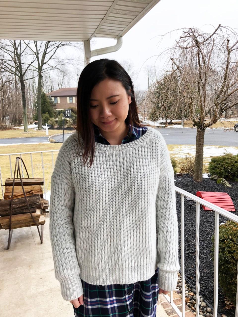 Shaker Knit Sweater + Plaid Shirt Dress 9