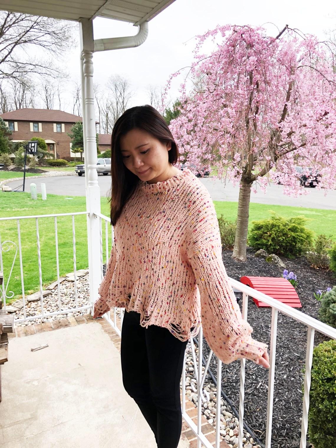 Pink Confetti Distressed Sweater