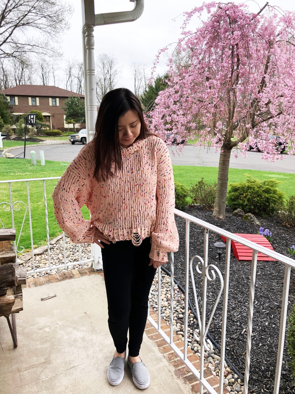 Pink Confetti Distressed Sweater