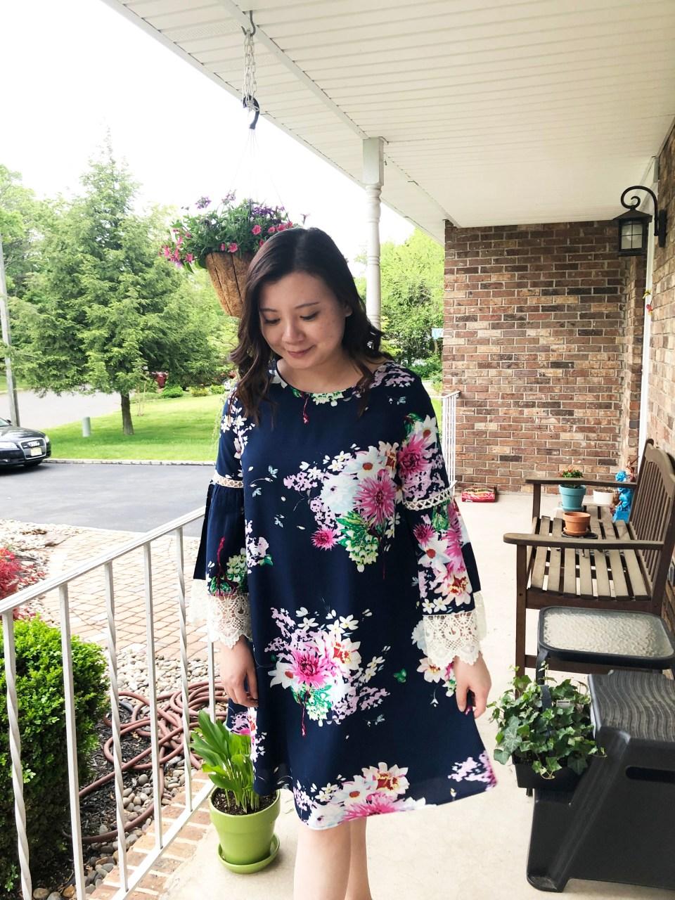 Blue Floral Lace Trim Dress 11