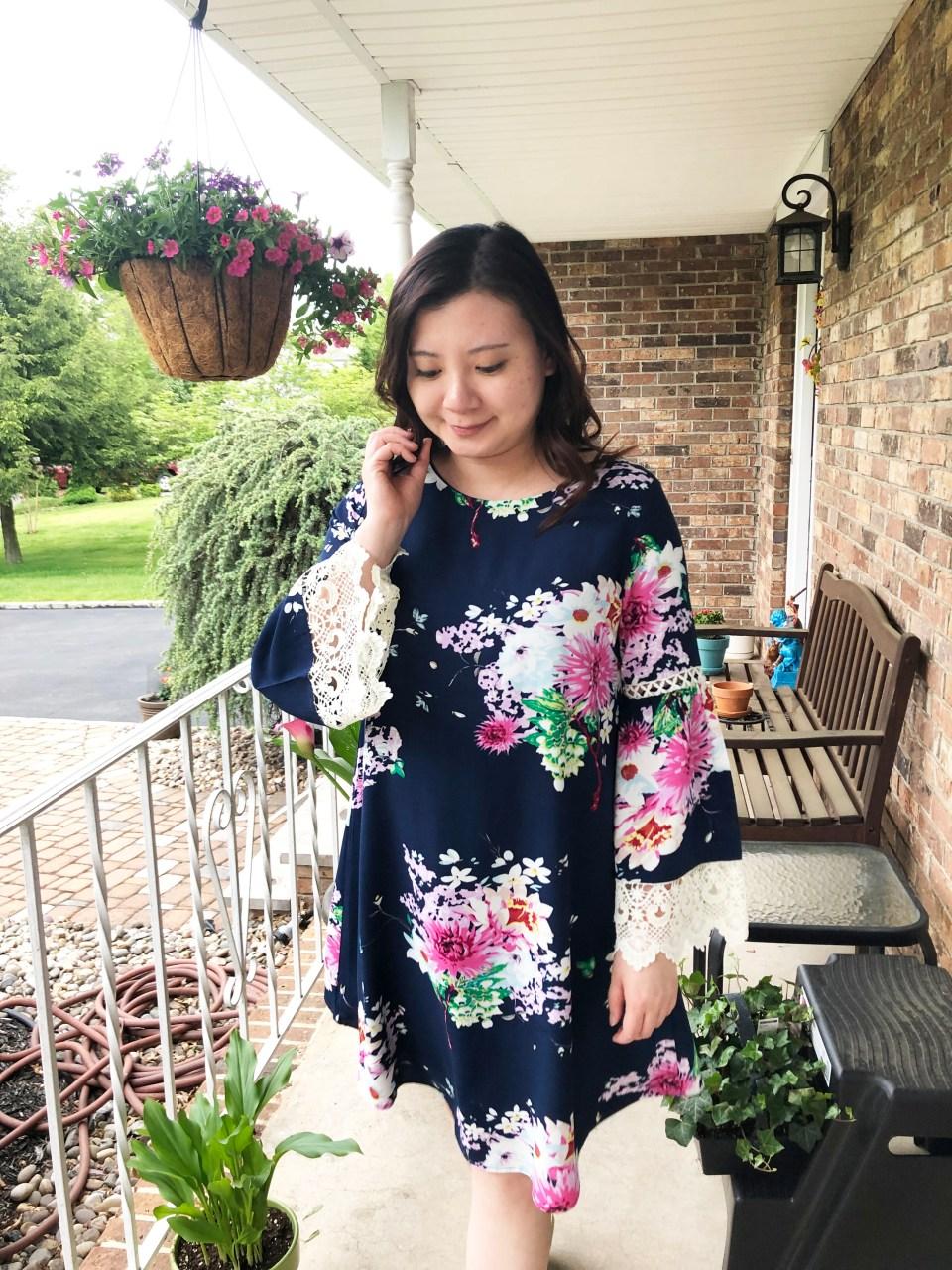Blue Floral Lace Trim Dress 13