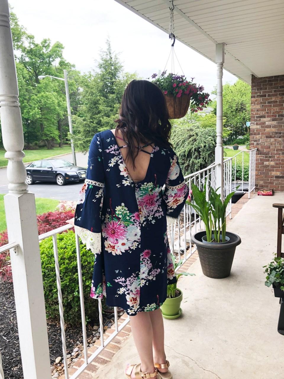 Blue Floral Lace Trim Dress 2