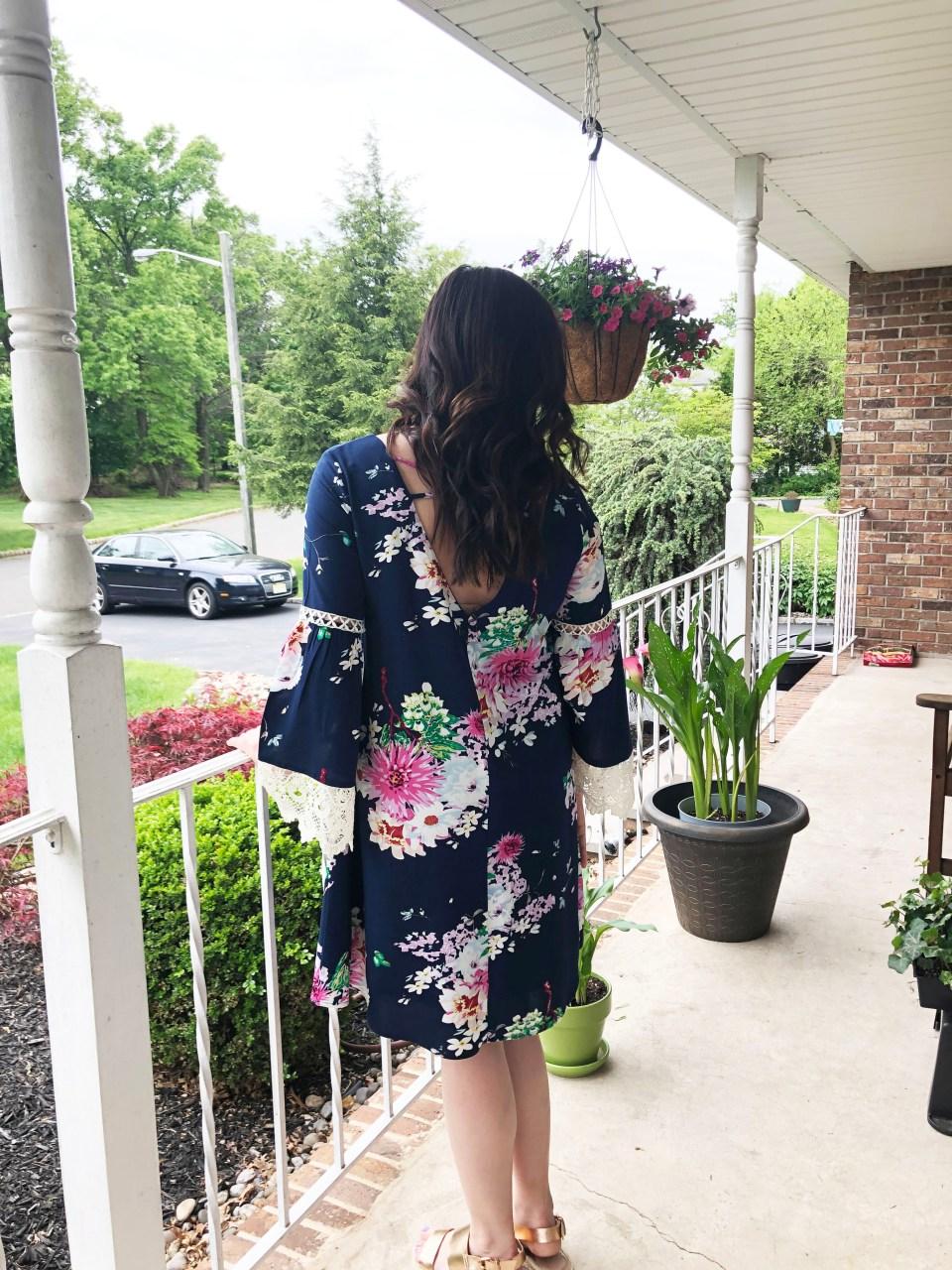 Blue Floral Lace Trim Dress 3