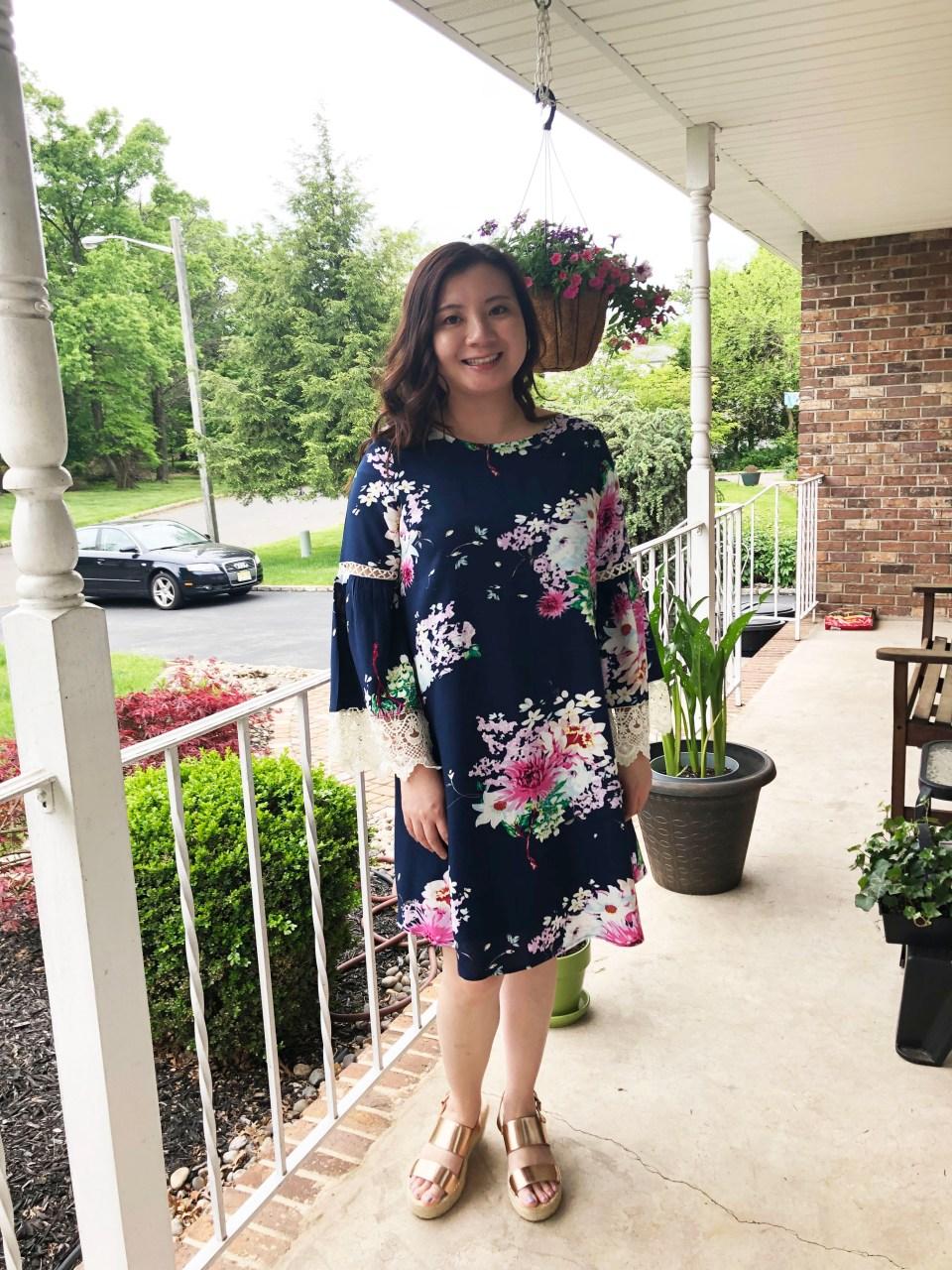 Blue Floral Lace Trim Dress 5
