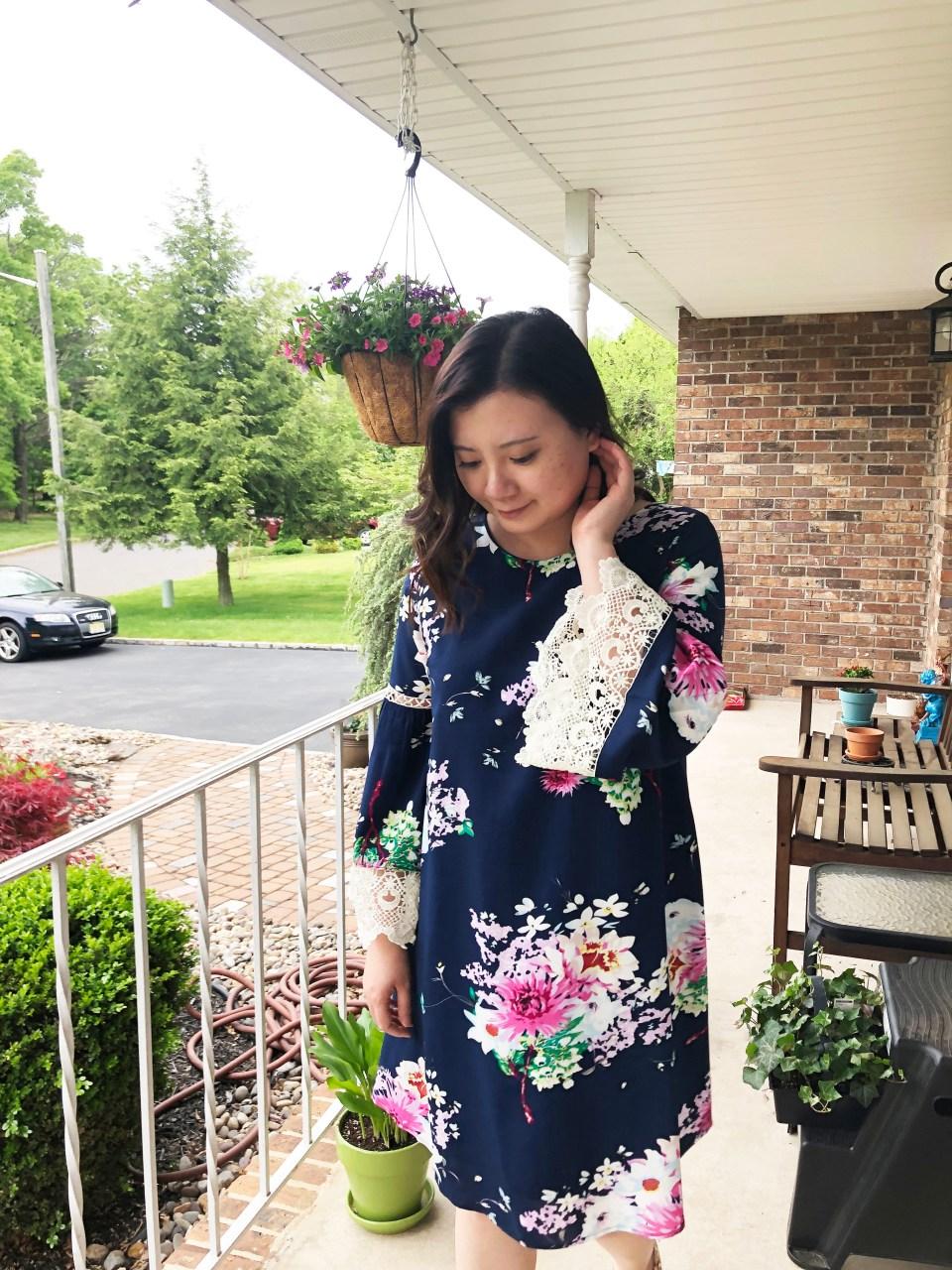 Blue Floral Lace Trim Dress 9