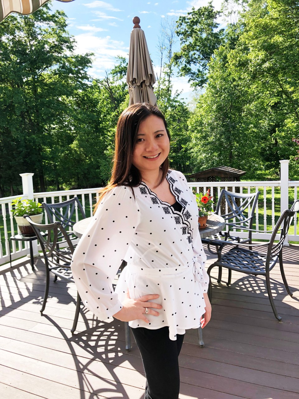Dotted Scalloped Wrap Top 1
