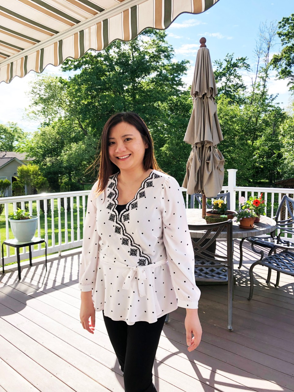Dotted Scalloped Wrap Top 12