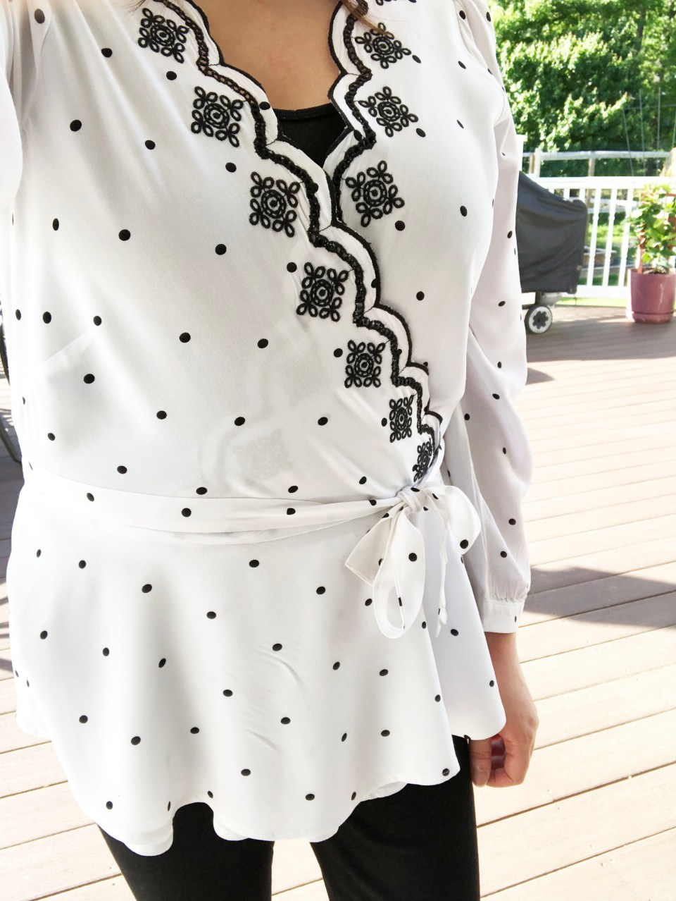 Dotted Scalloped Wrap Top 15
