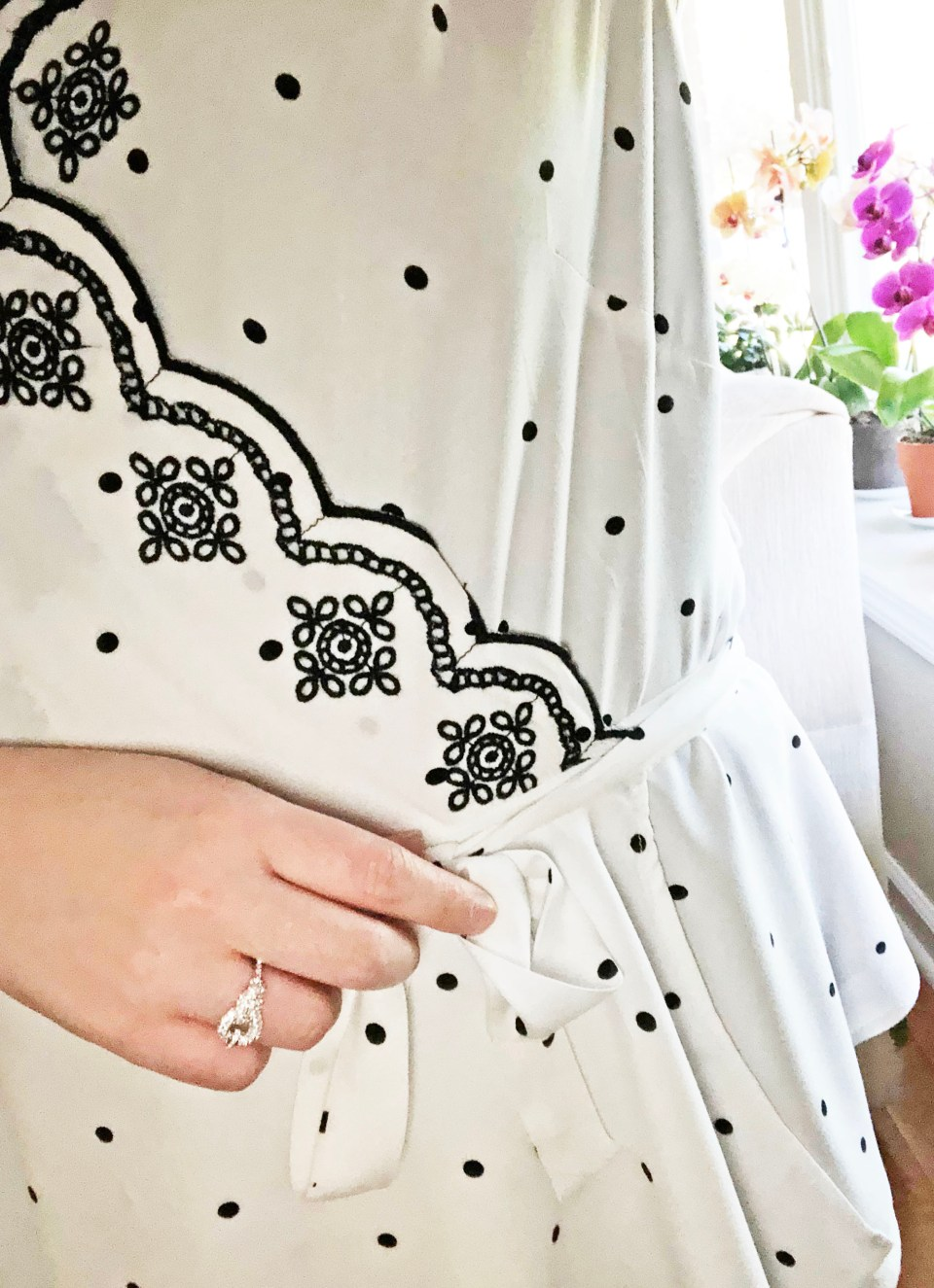 Dotted Scalloped Wrap Top 16