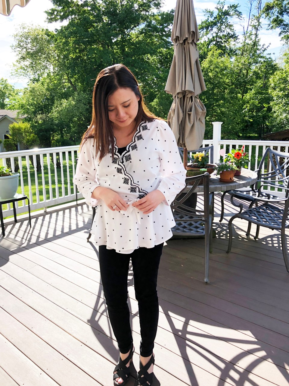 Dotted Scalloped Wrap Top 2