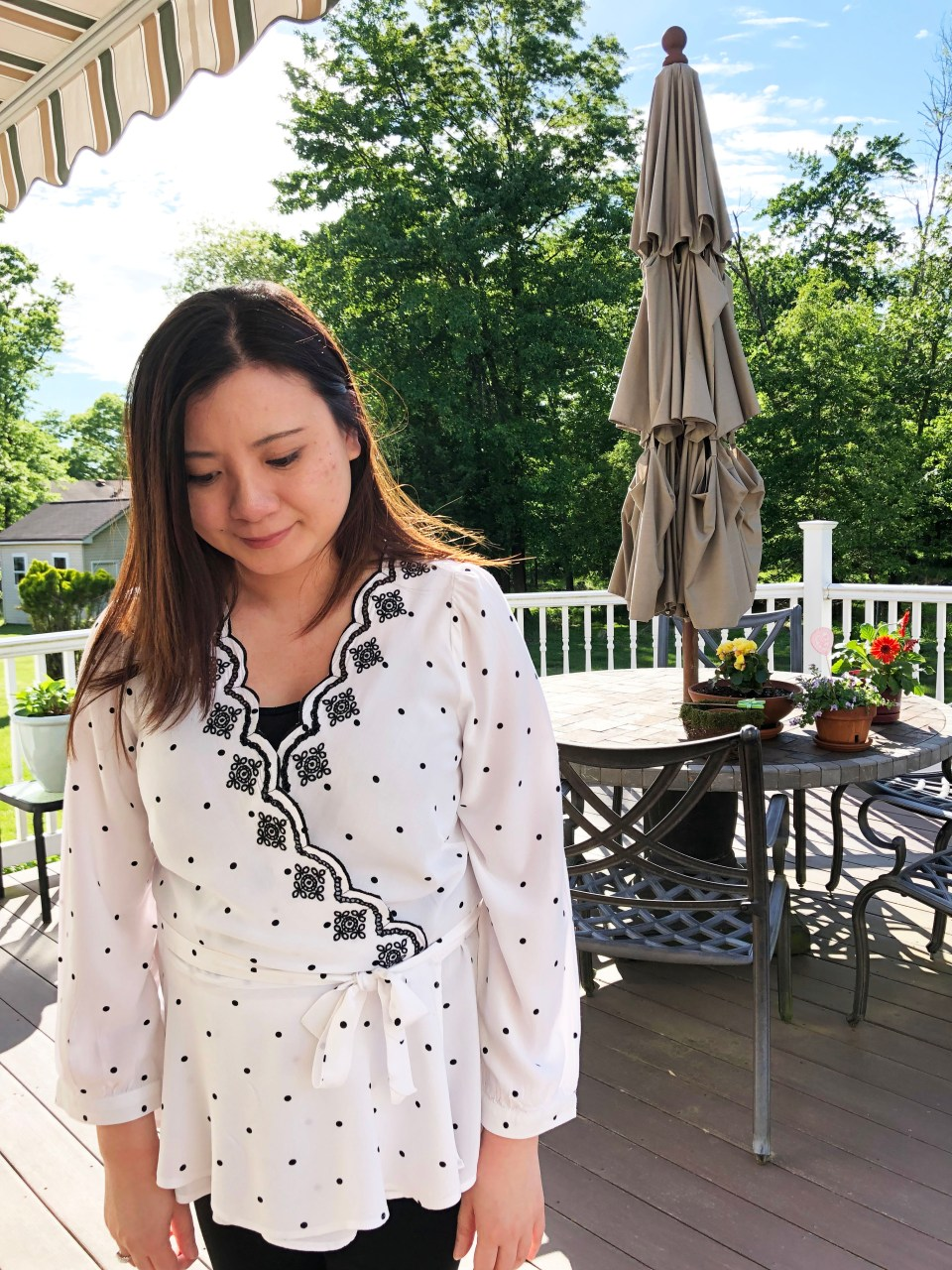 Dotted Scalloped Wrap Top 4