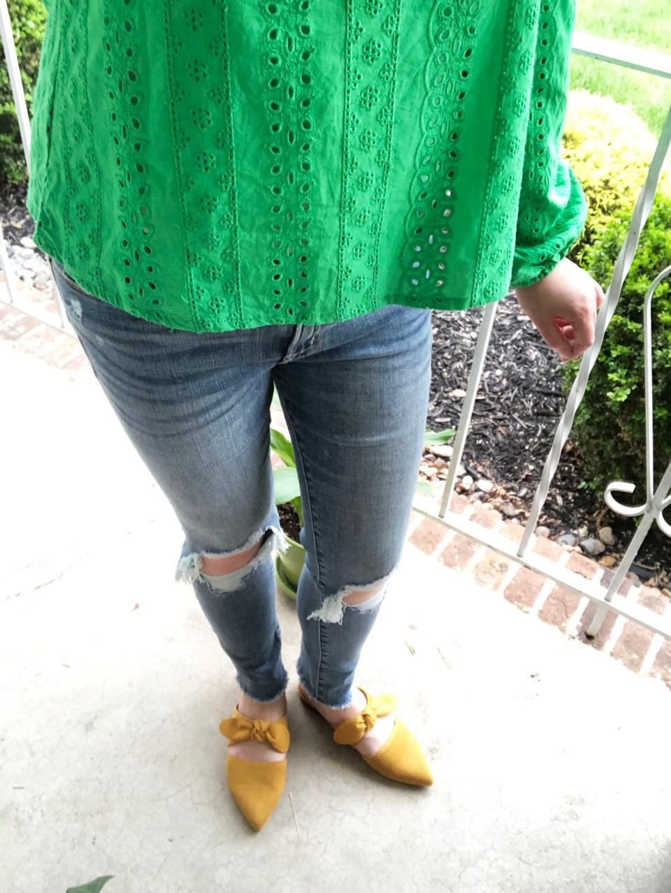 Green Smock Top + Mustard Yellow Mules 8