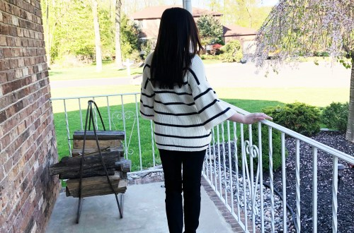 Striped Short Bell Sleeve