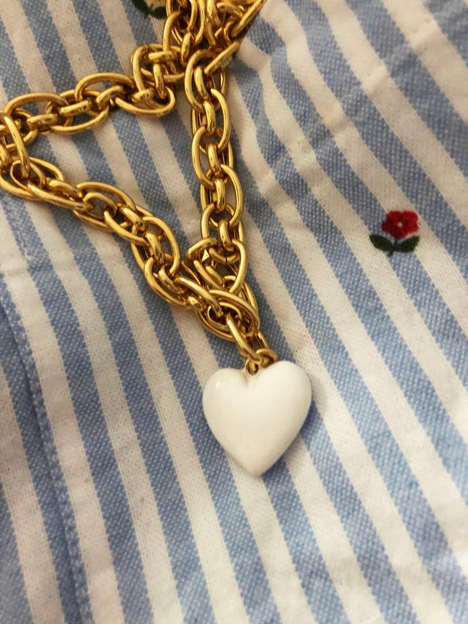White Enamel Heart Pendant 5