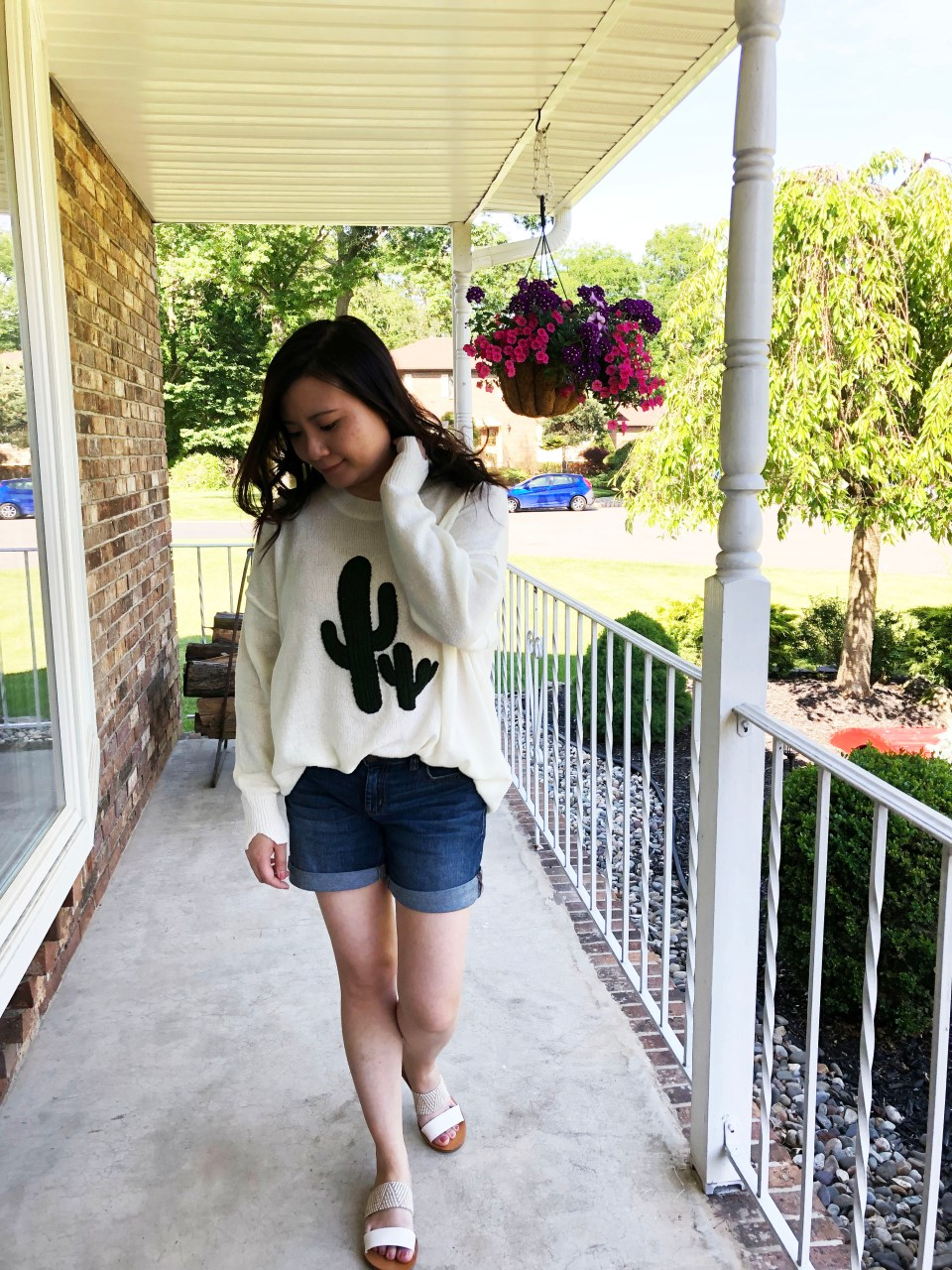 Embroidered Cactus Patch Sweater 11