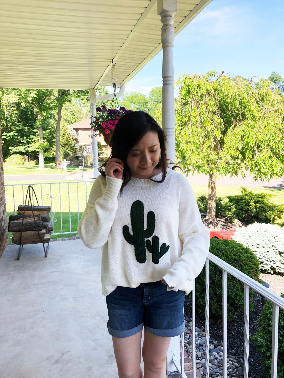 Embroidered Cactus Patch Sweater 5