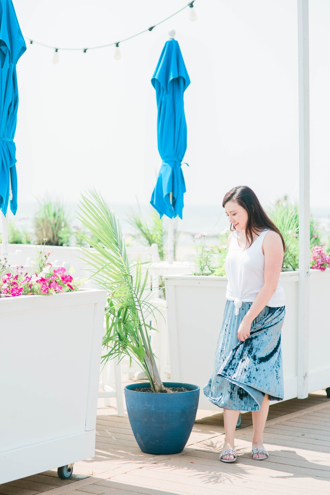 Knotted Tank Top + Blue Velvet Pleated Skirt