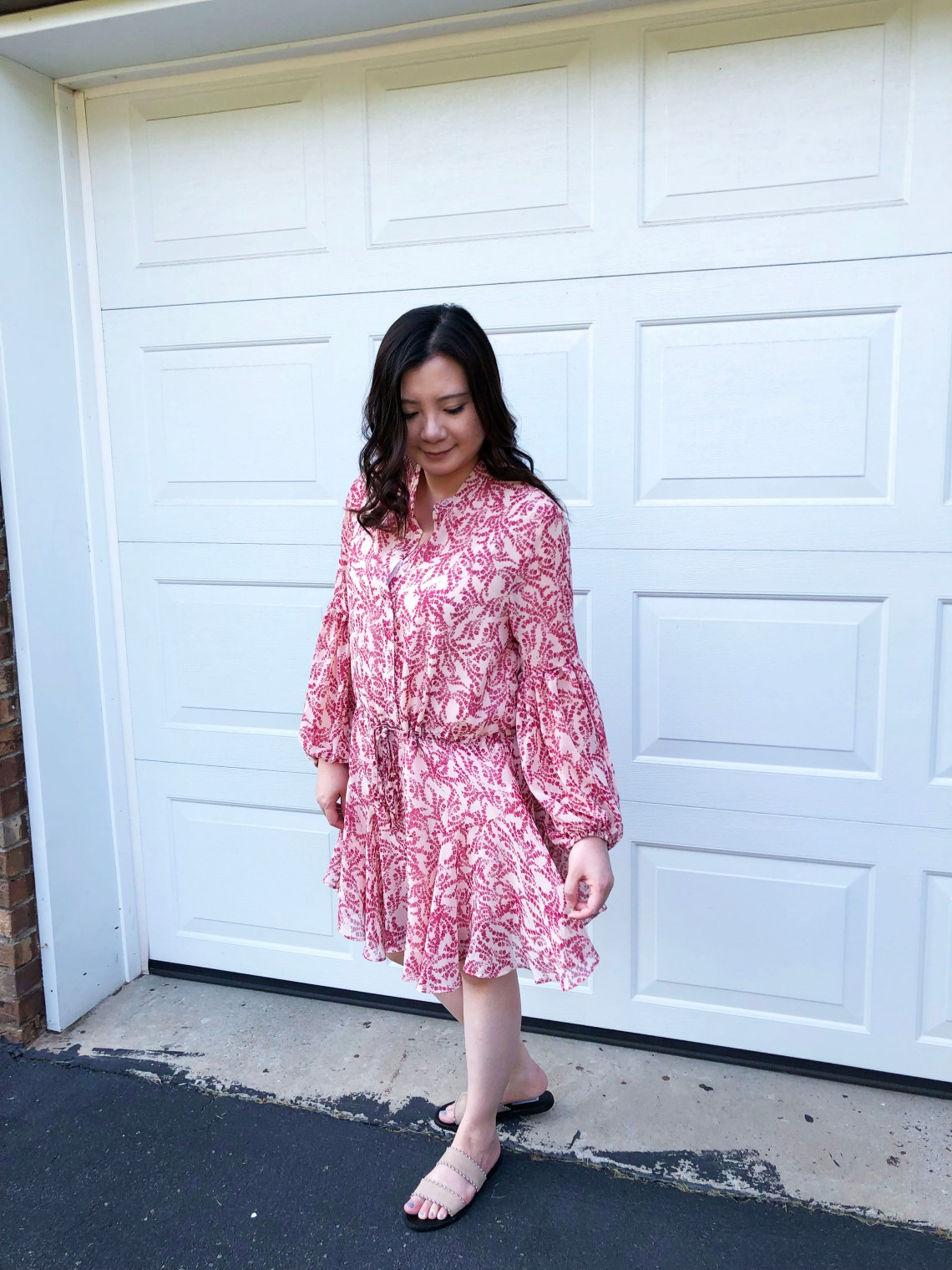 Grapevine Balloon Sleeve Dress